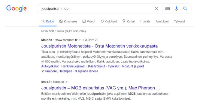 google orgaaninen hakutulos